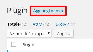 Aggiungi nuovo plugin WordPress