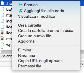 Modificare i permessi dei file via ftp