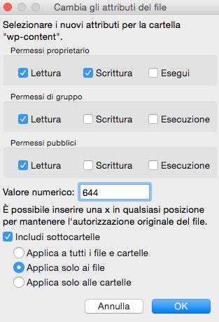 Impostazione permessi 644 su un singolo file