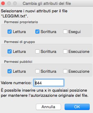 Impostazione permessi 644 su tutti i file di una directory