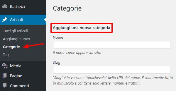categorie wordpress