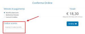 Pagamento hosting con codice sconto