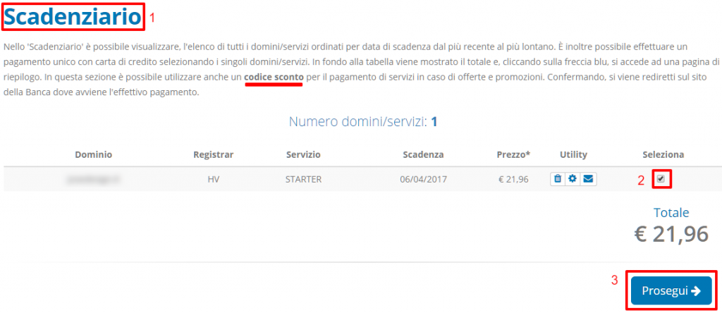 Rinnovo hosting con codice sconto