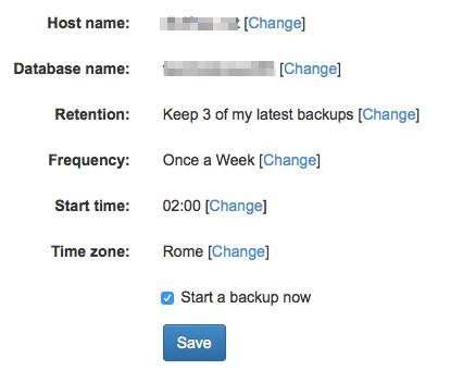Cloud Backup: conferma backup database