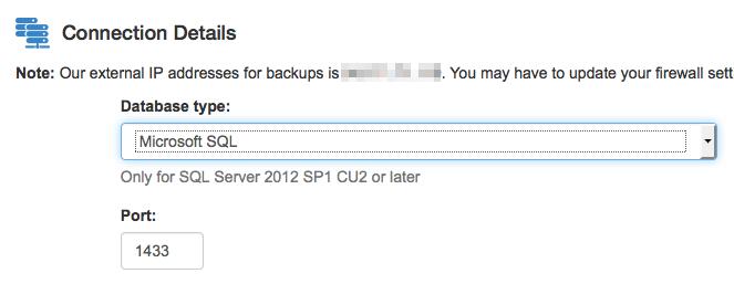 Cloud Backup: dettagli database