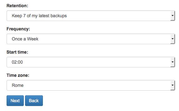 Dropmysite configurazione backup