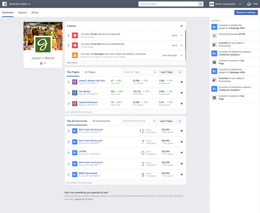 Facebook Business Manager: Home page