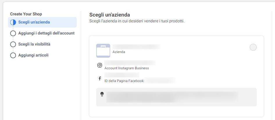 Facebook Shop: scelta dell'azienda
