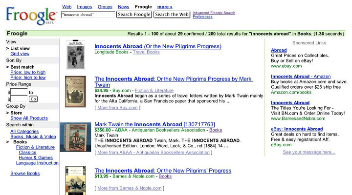 interfaccia di ricerca Froogle