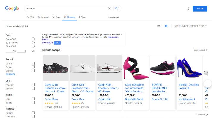 Google Shopping interfaccia ricerca articolo