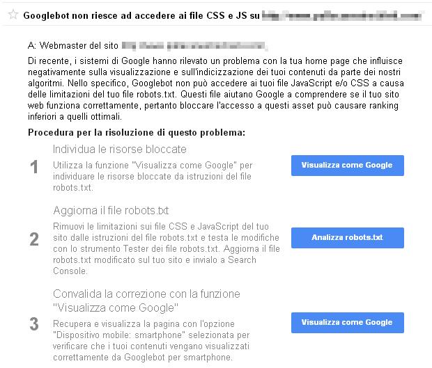 Messaggio Googlebot non riesce ad accedere ai file CSS e JS