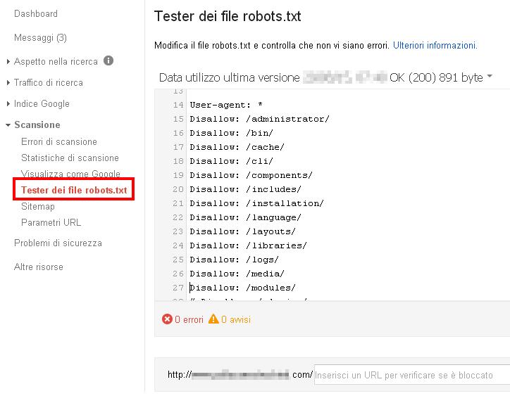 Google Search Console: Tester dei file robots.txt