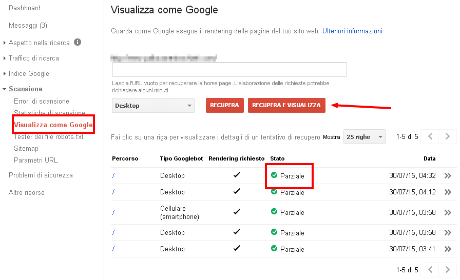 Google Search Console: visualizza come Google