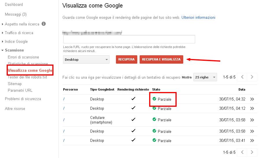 Google Search Console: visualizza come Google