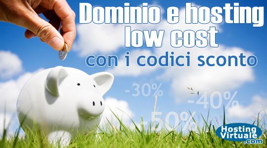 Dominio e hosting low cost con i codici sconto