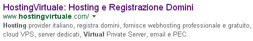 Titolo HostingVirtuale su Google