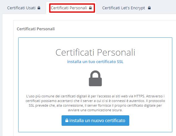 HVCP: Certificato SSL personale