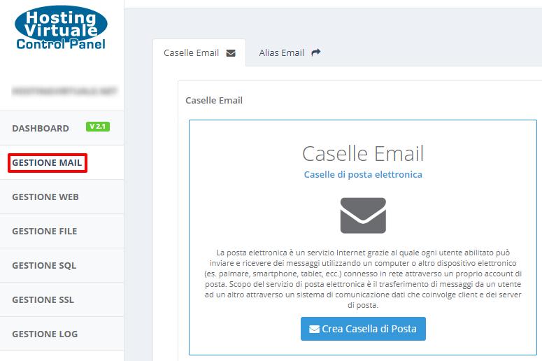 HVCP: menu Gestione Mail
