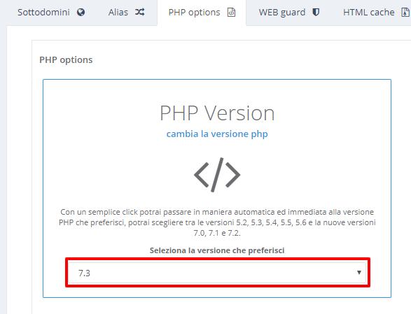 Configurazione MultiPHP