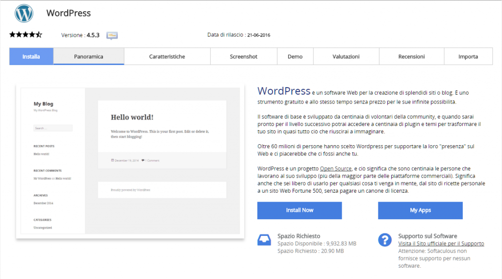 installare-wordpress-softaculous