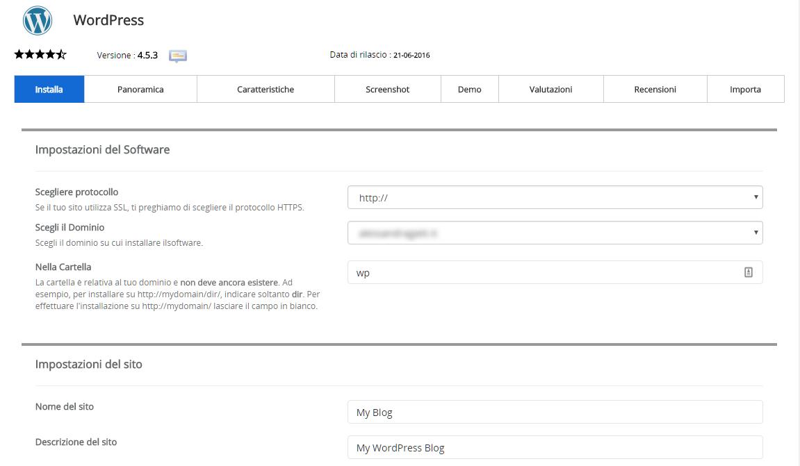 installare-wordpress-softaculous-dati