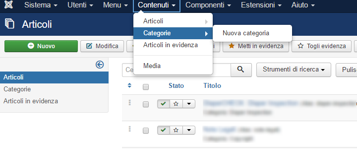 Come creare una categoria in Joomla