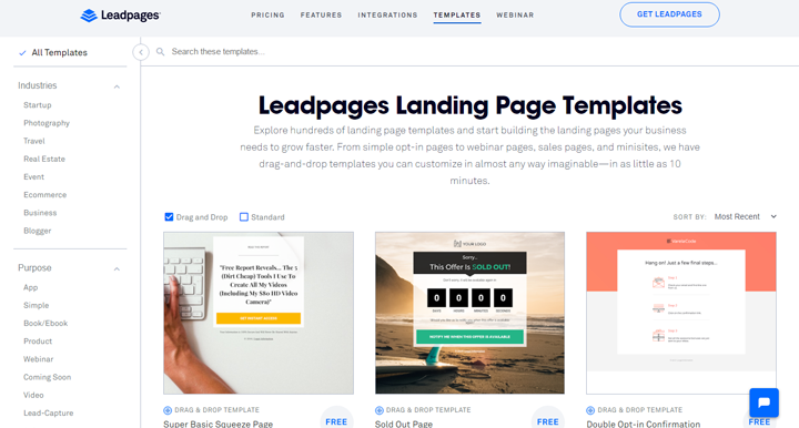 Landing page Leadpages
