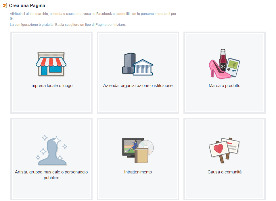 Categorie delle pagine Facebook
