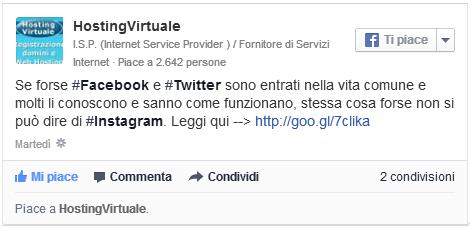 Facebook post con link