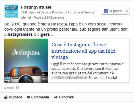 Facebook post senza link
