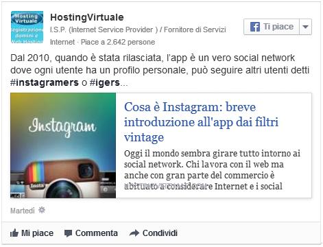 Facebook post senza link