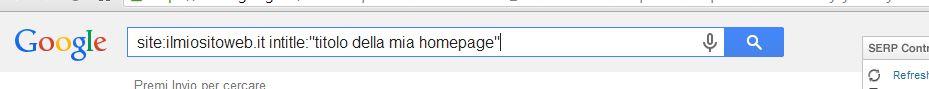 Istruzioni Google site e intitle