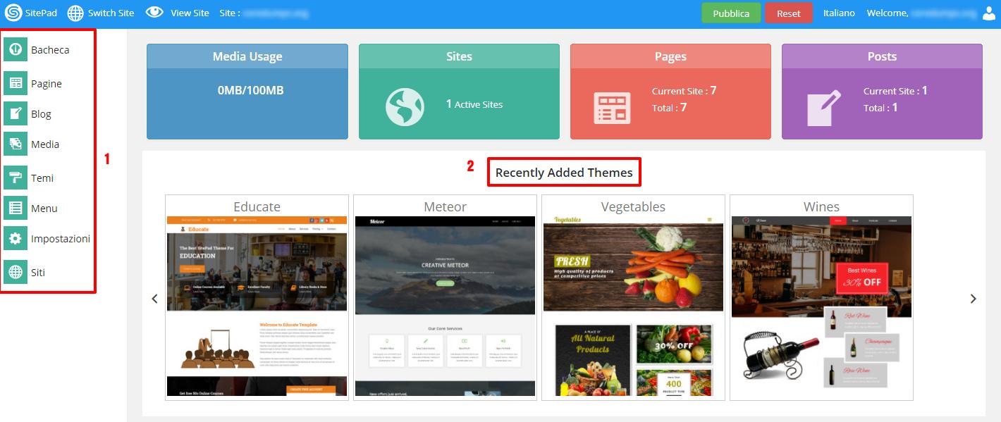 La dashboard di SitePad