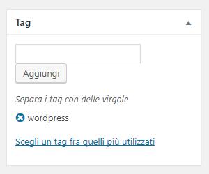 Inserire un tag wordpress nell'articolo