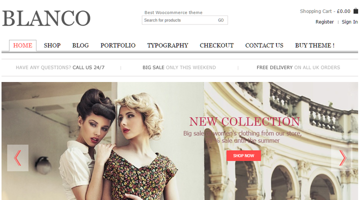Temi WordPress per eCommerce: Blanco