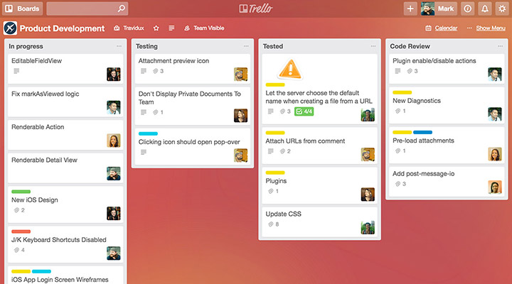 Trello product development boards