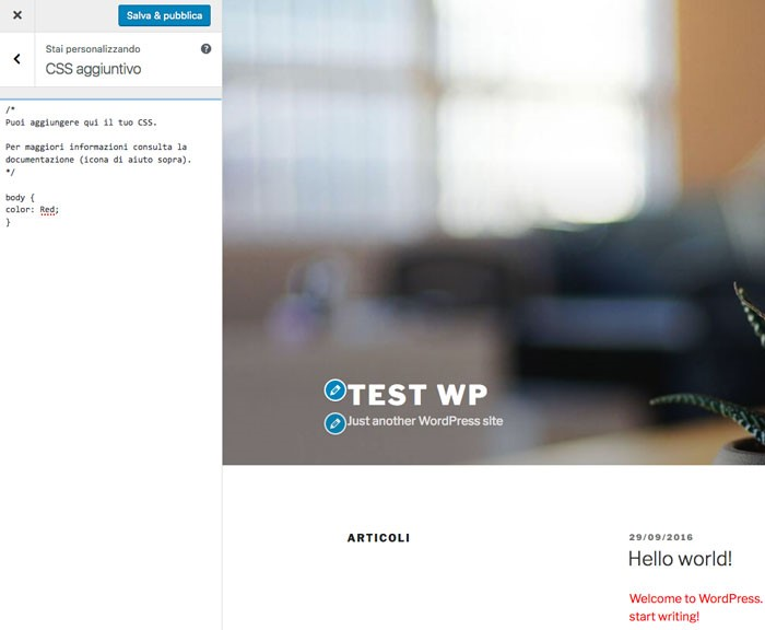 WordPress 4.7: CSS personalizzati