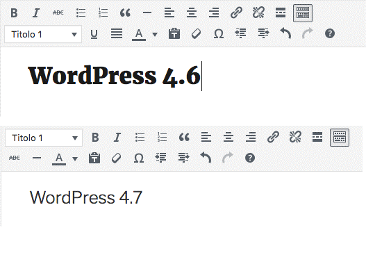 WordPress 4.7: nuovo editor