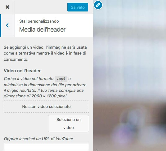 WordPress 4.7: video nell'header