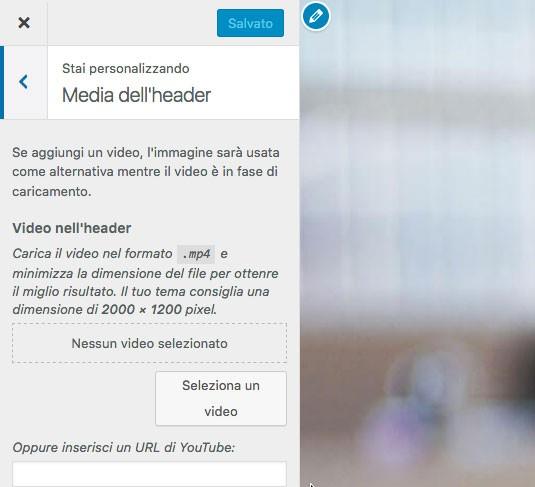 WordPress 4.7: video nell'header