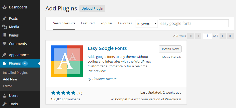 Plugin WordPress: Easy Google Fonts