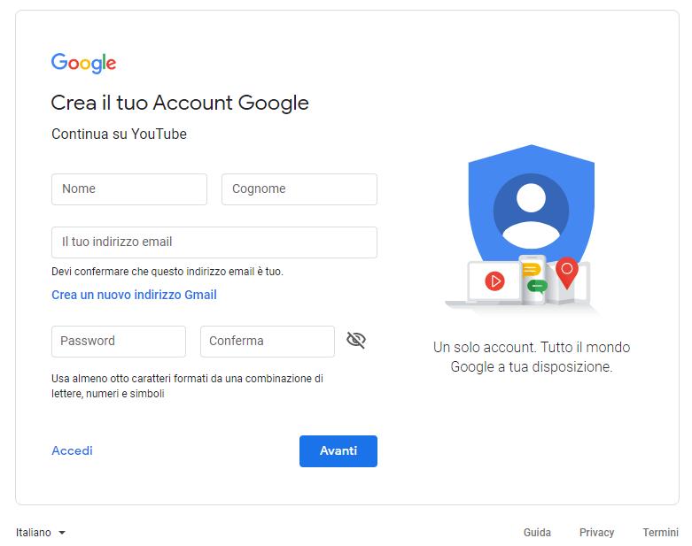 YouTube: crea account aziendale