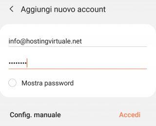 aggiungi nuovo account dati