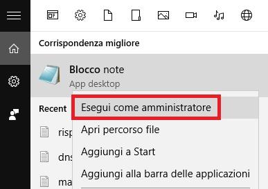 Aprire blocco note come amministratore