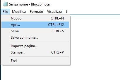 Aprire file blocco note come amministratore