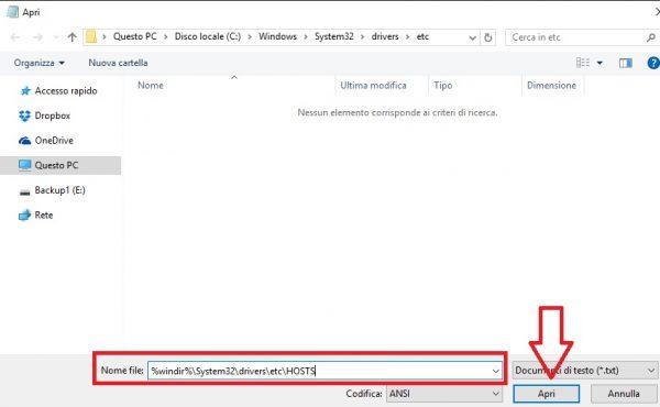 Aprire file hosts blocco note come amministratore