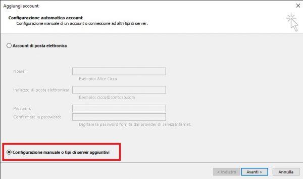 Configurare pop3 imap configurazione manuale