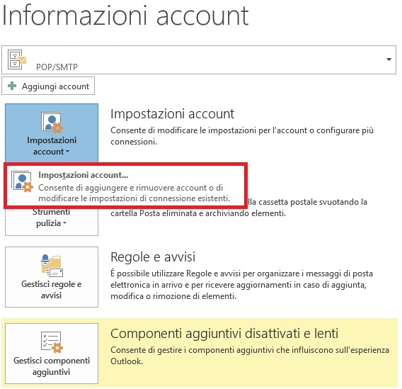 Configurare pop3 imap account