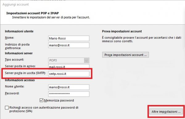 Configurare smtp server uscita
