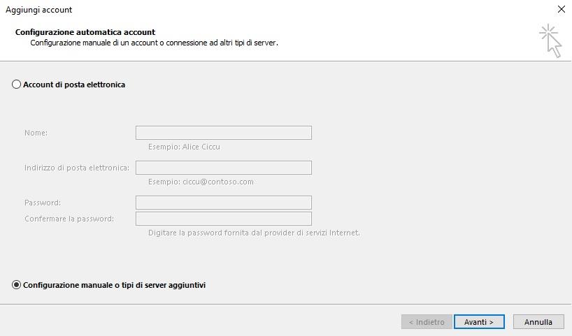 configurazione manuale tipo server